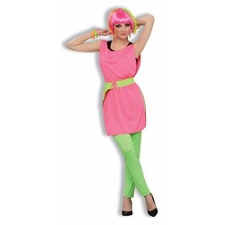 80's Neon Pink Tunic for Womens Halloween Costume - one-size: regular
