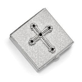 Silvertone Black Crystal Cross Pill-box