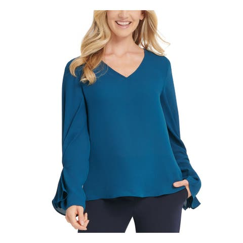 DKNY Womens Blue Gathered Long Sleeve V Neck Top Size PM