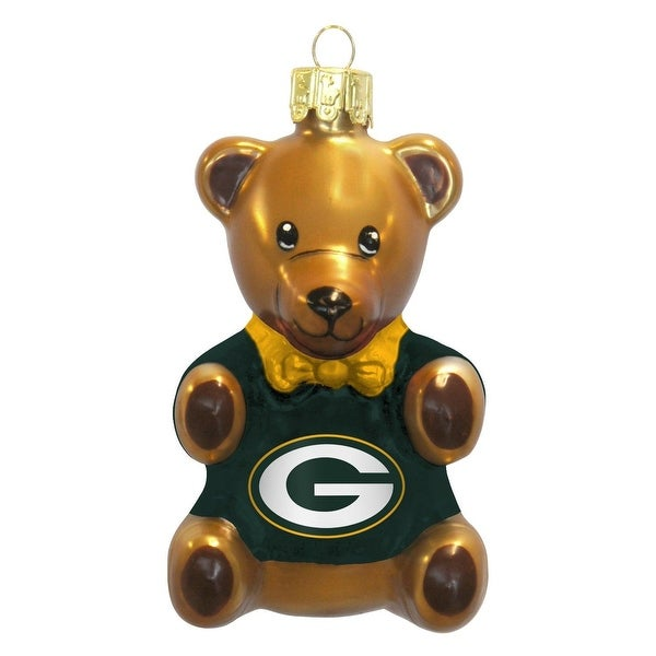 Green Bay Packers 3.5 Blown Glass Teddy Bear Ornament""