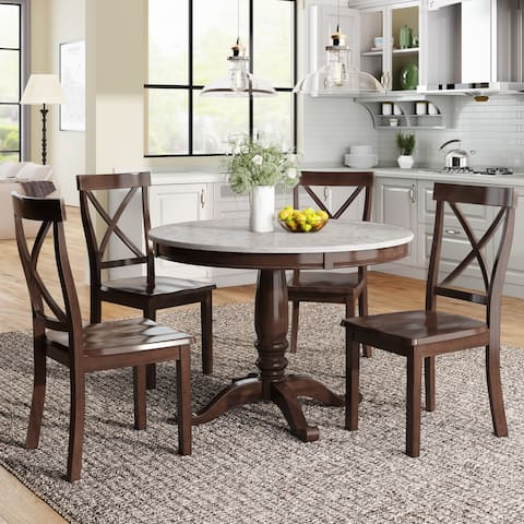 Espresso Modern 5-Piece Solid Wood Dining Table Set