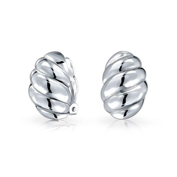 Bling Jewelry .925 Sterling Silver Oval Clip On Earrings Alloy Clip brLJ1