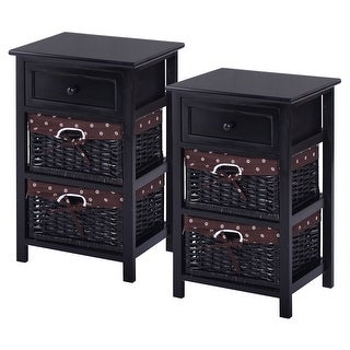 Costway Set OF 2 Night Stand 3 Tier 1 Drawer Bedside End Table Organizer Wood W/2 Basket