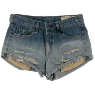 Rag & Bone Womens Destroyed Cuffed Denim Shorts