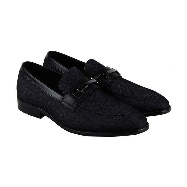 Steve Madden P-Onset Mens Black Textile Casual Dress Slip On Loafers Shoes