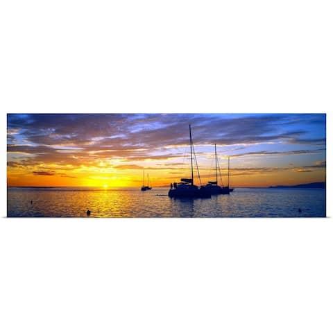 """Sailboats in the ocean at sunset, Tahiti, Society Islands, French Polynesia"" Poster Print"