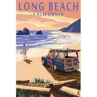 Long Beach, California, Woody on Beach - Lantern Press Artwork (Playing Card Deck - 52 Card Poker Size with Jokers)