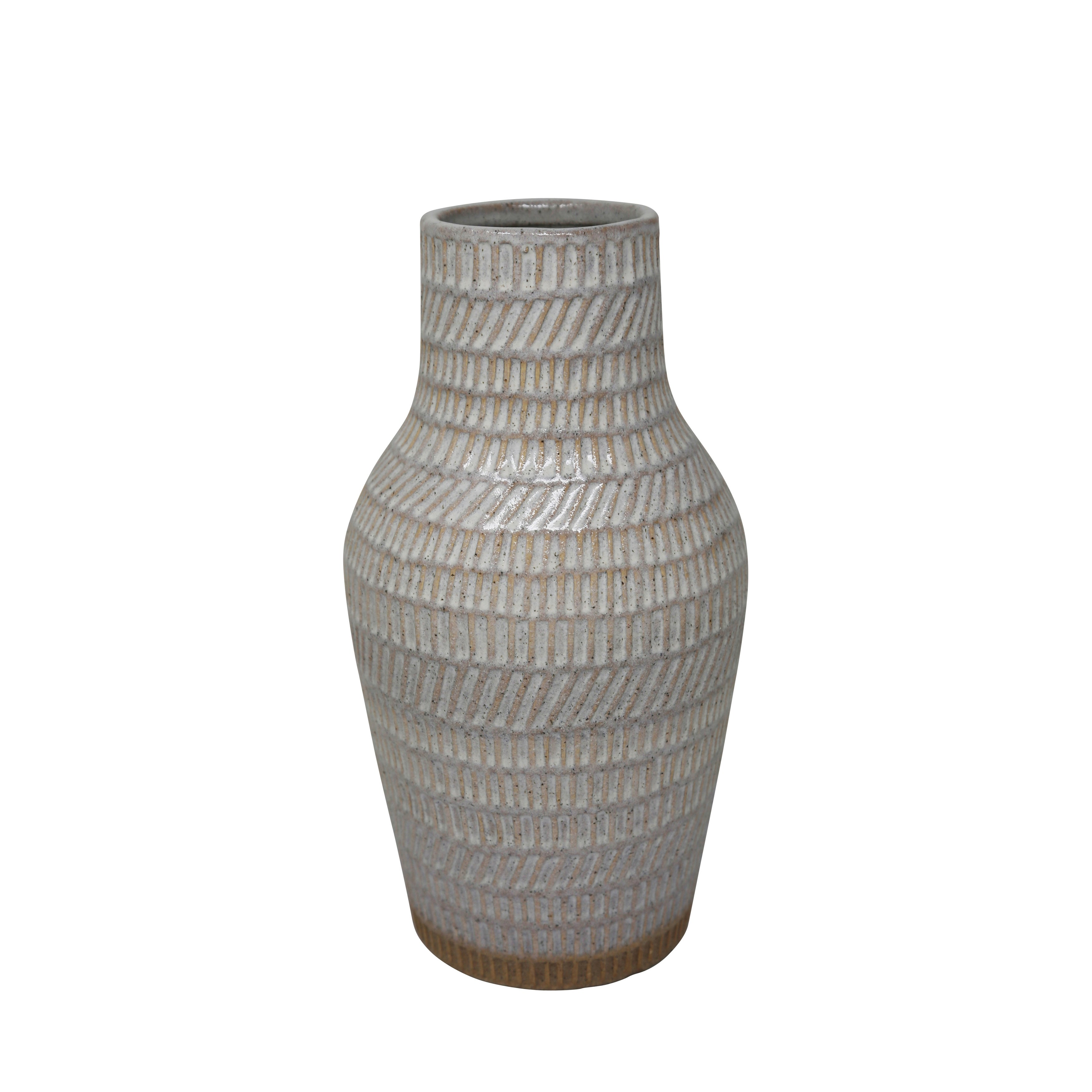 Ceramic Decorative Vase with Embossed Design Pattern, White and Brown