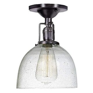 """JVI Designs 1202 S5-CB Union Square 1 Light 7"""" Flush Mount Ceiling Fixture with Clear Hand Blown Seedy Glass Shade"""