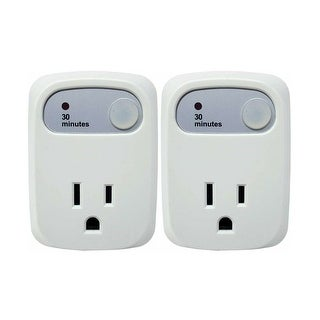 Simple Touch Auto Shut-Off Power Outlet - 30 Minute - for Curling Iron, Straightener, iPhone, Android - Countdown Timer (2 Pack)