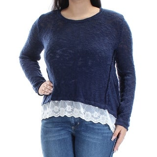 Womens Navy Long Sleeve Jewel Neck Sweater Size L