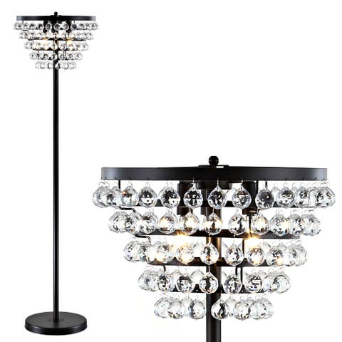"""Jemma 60"""" Crystal/Metal LED Floor Lamp, Bronze / Clear by JONATHAN Y - 60"""" H x 16"""" W x 16"""" D"""