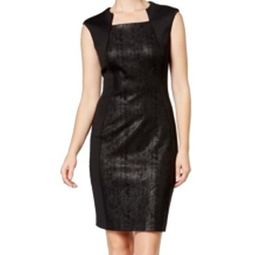 0b94772035a Shop Calvin Klein NEW Black Womens Size 12 Snake Skin Print Sheath Dress - Free  Shipping On Orders Over  45 - Overstock.com - 18307269