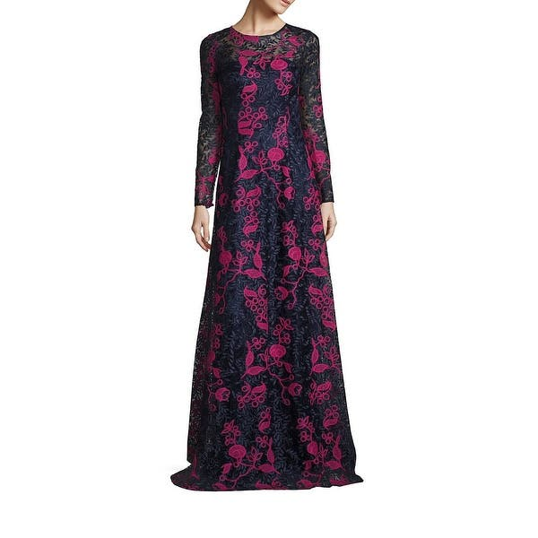 David Meister Embroidered Lace Long Sleeve Evening Gown Dress Navypink 10