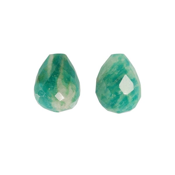 Amazonite Gemstone Beads, Faceted Teardrops 6x8mm, 6 Pieces, Green & White