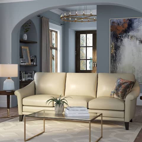 Sienna 100% Genuine Leather Midcentury Modern Sofa