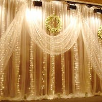 AGPtek 224led 9.8ft*6.6ft Curtain String Fairy Wedding Led Lights for Garden,Wedding, Party (Warm White)