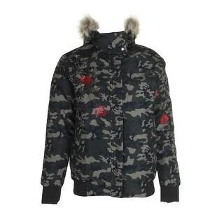 American Rag Juniors Green Black Embroidered Camo-Print Faux Fur Puffer Jacket M