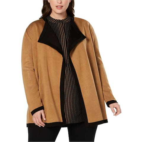 Anne Klein Womens Colorblock Drape Cardigan Sweater