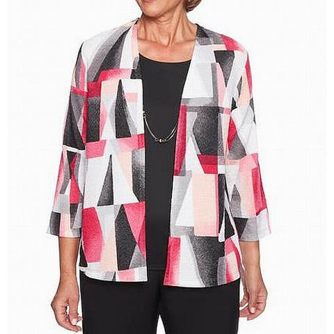 Alfred Dunner Womens Sweater Pink Size 2X Geo-Print Necklace Twinset