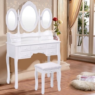 Costway White Tri Folding Oval Mirror Wood Vanity Makeup Table Set with Stool &7 Drawers
