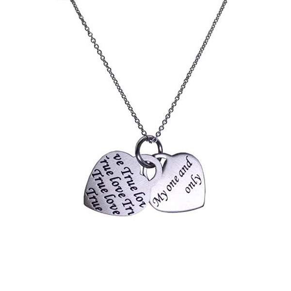 Stainless Steel True Love Double Heart Pendant - 18 inches