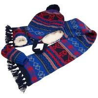 NICE CAPS Little Boys And Infants Sherpa Lined Geo Print Knitted Set - navy/royal/silver/red - infant