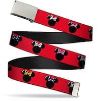Blank Chrome  Buckle Minnie Mouse Silhouette Red Black Polka Dot Web Belt