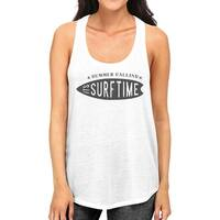 Summer Calling Its Surf Time Womens White Cotton Graphic Tank Top