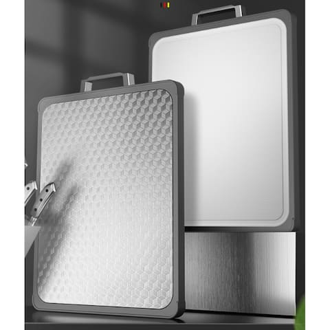 """17""""x12"""" Double-Sided Stainless Steel Cutting Boards for Kitchen Use - DoubleSide"""