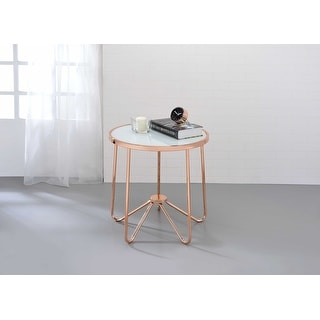 Coffee Table In Smoky Glass & Rose Gold - Glass, Metal Tube Smoky Glass & Rose Gold