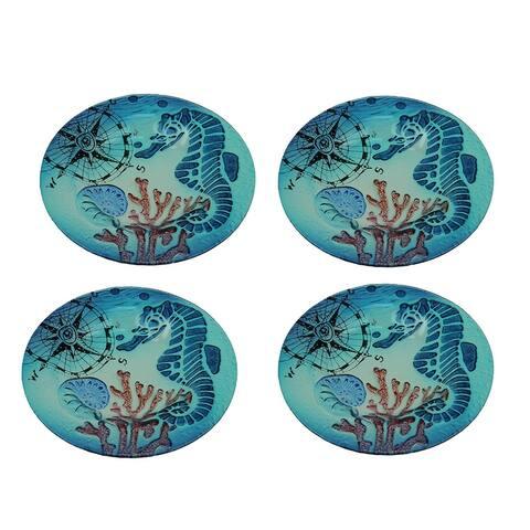 Set of 4 Coastal Blue Seahorse Round Art Glass Salad Plates - 0.68 X 8 X 8 inches