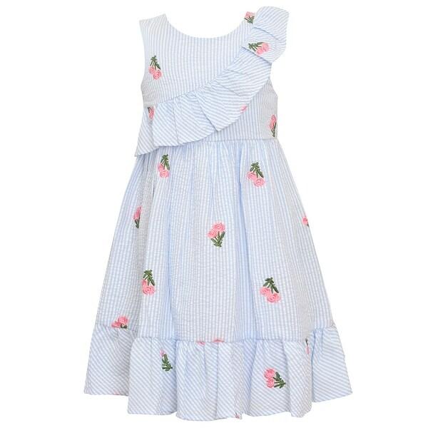 c64336dcb50 Shop Bonnie Jean Little Girls Blue Stripe Flower Knee-Length Easter Dress -  Free Shipping On Orders Over  45 - Overstock - 27103248