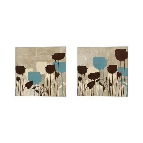 Patricia Pinto 'Floral Simplicity (blue)' Canvas Art (Set of 2)