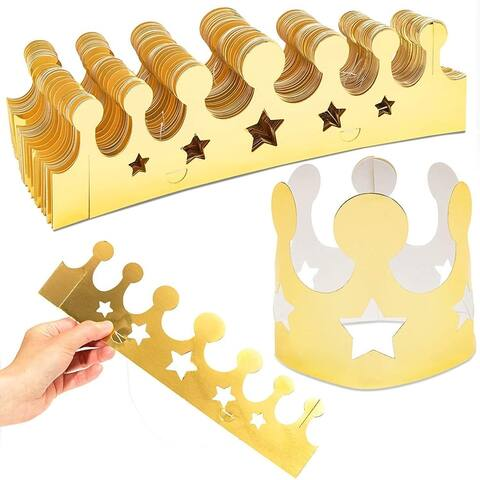 48pcs Party Hats Gold Foil Paper Crown Birthday Supplies Baby Shower Photo Props