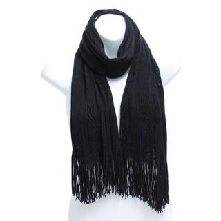Winter Two Tone Tubular Knit Scarf with Fringe