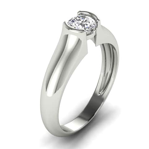 0.40 CT Classic Channel Round Cut Diamond Solitaire Engagement Ring