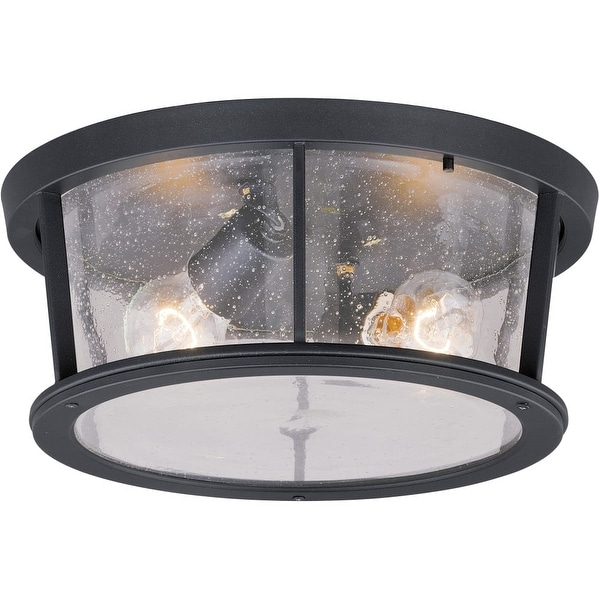 "Vaxcel Lighting T0097 Coventry 2-Light Flush Mount Outdoor Ceiling Fixture with Clear Seeded Glass Shade - 13"" Wide"
