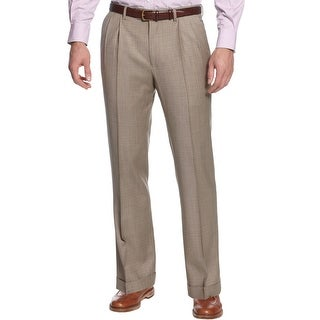Ralph Lauren Wool Tick Double Pleated Front Dress Pants Taupe 30 x 30 Trousers