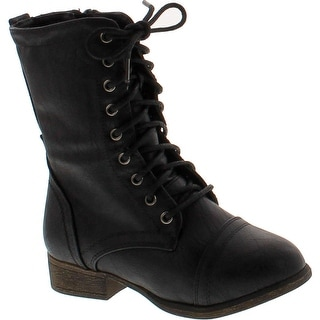 Link Beyonce-62K Children Girl's Comfort Lace Up Mid Calf Combat Boots