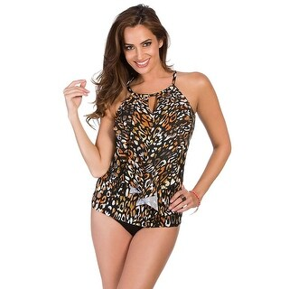 Miraclesuit Cats Meow Ruffle Peephole Tankini Top 8 Black Womens Swimsuit