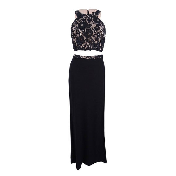 3a15ab157d Shop X by Xscape Women s 2-PC. Lace Gown - Black Nude - On Sale - Free  Shipping Today - Overstock - 22435990
