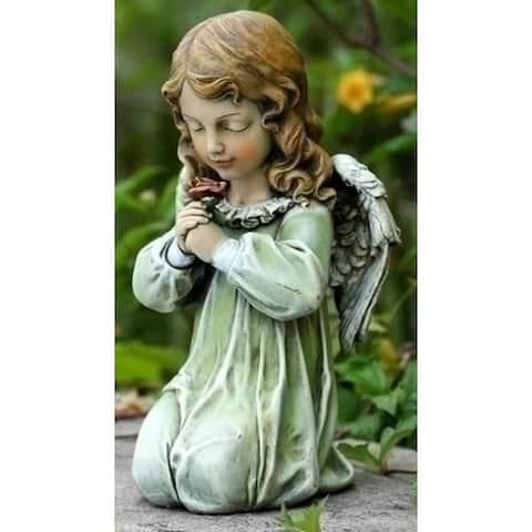"""Set of 2 Joseph's Studio Kneeling Angel with Rose Outdoor Garden Statues 11.5"""" - N/A"""