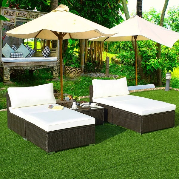Outdoor Wicker Sectional Sofa For Sale: Shop Gymax 5 PC Lounge Patio Rattan Sectional Furniture