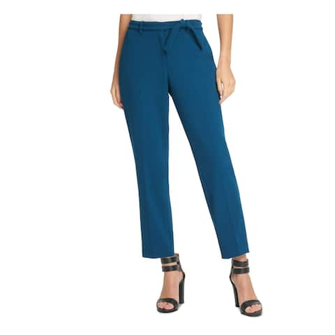 DKNY Womens Teal Belted Zippered Wear To Work Pants Size 16