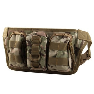 Outdoor Nylon Zippered 4 Compartment Adjustable Belt Phone Holder Waist Bag