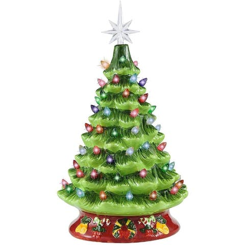 """Joiedomi 5 in. Tall White, Green & Red Ceramic Christmas Tree in Red Base with Decorations - 4""""W x 2""""L x 5""""H"""