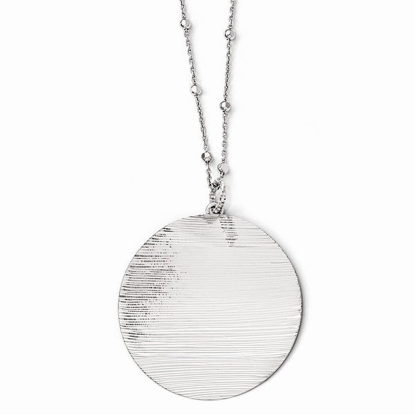 Italian Sterling Silver Radiant Essence Rhodium-plated Diamond Cut Necklace with 2in ext - 17 inches