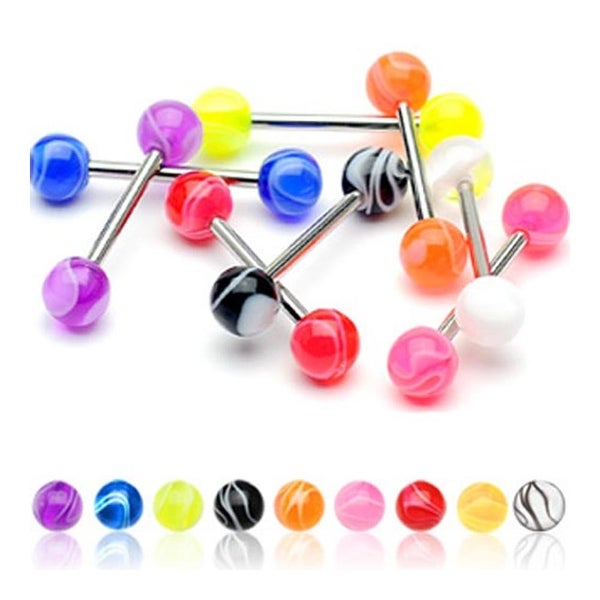 Surgical Steel Barbell with UV Marble Ball (Sold Ind.)