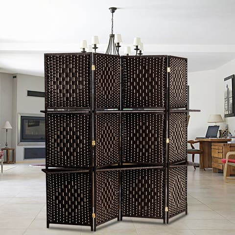 Four Folds Rattan Screen Two Plates Dark Brown - 6 Panel